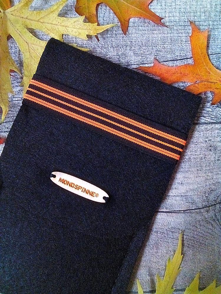 """Brillentasche/ Brillenetui/ Filztasche """"Max"""" (schwarz-orange) mit Gummiband - MONDSPINNE"""