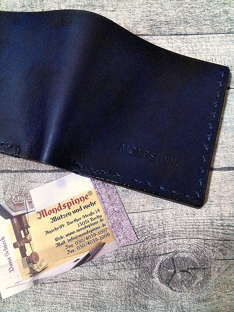 """Kreditkartenetui Geldscheinetui """"Edo"""" (braun-blau) aus vegetabil gegerbtem Rindsleder & Lachsleder - MONDSPINNE"""