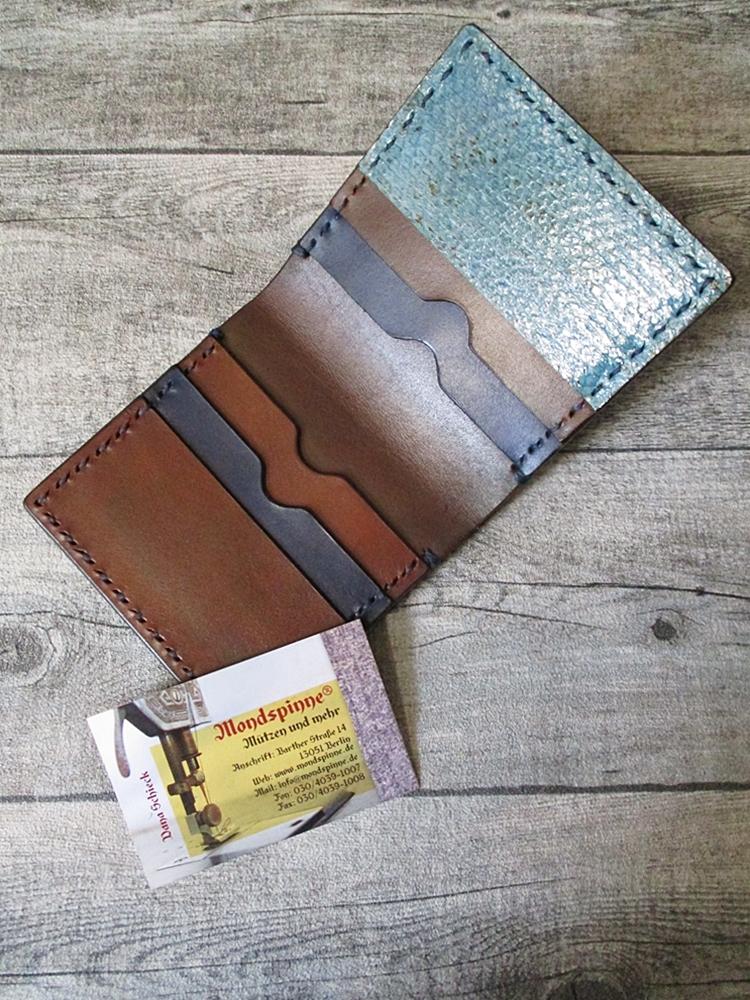 Kreditkartenetui Geldscheinetui Edo (braun-blau) aus vegetabil gegerbtem Rindsleder & Lachsleder - MONDSPINNE