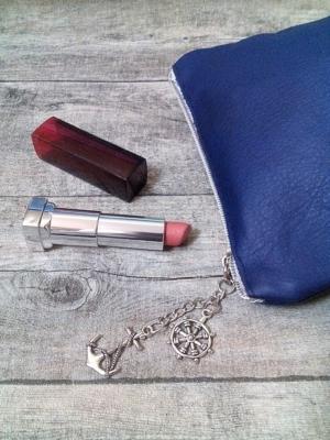 Kosmetiktasche Glamour dunkelblau-silber Rindsleder-Nappaleder - MONDSPINNE