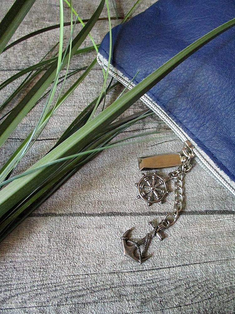 Kosmetiktasche Glamour dunkelblau-silber Rindsleder-Nappaleder