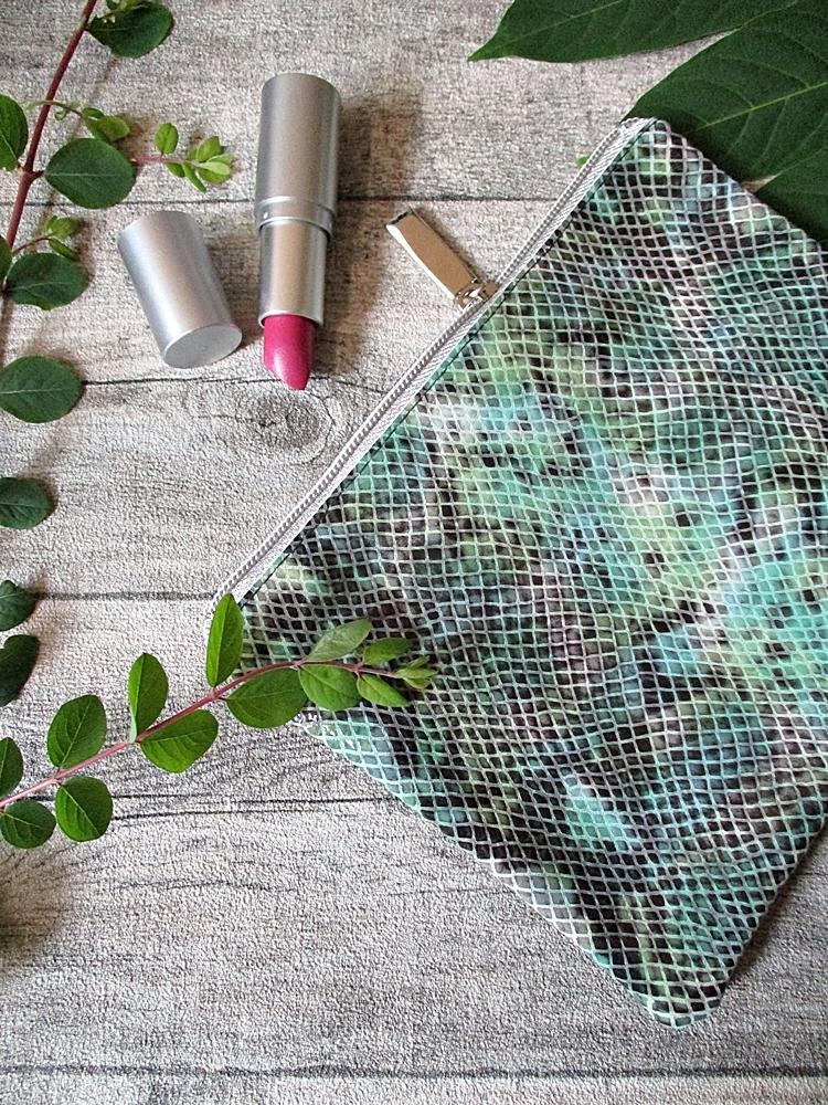Kosmetiktasche Python groß grün-graubraun-silber groß Ziegenleder Kalbsleder - MONDSPINNE