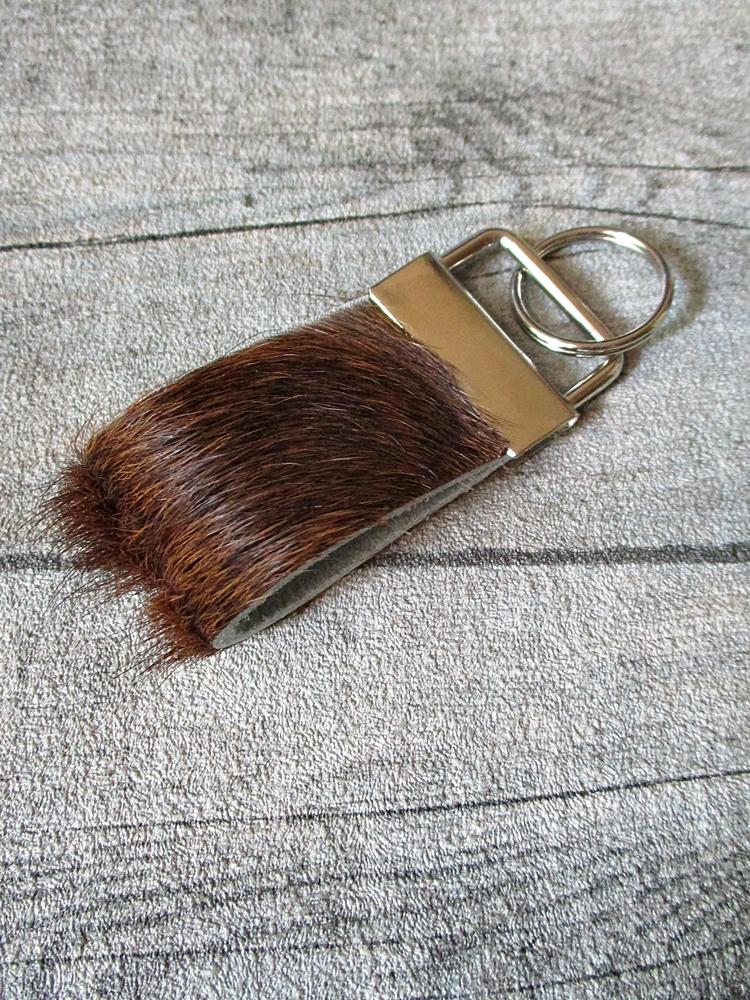 Schlüsselanhänger Muuh Kuhfell rotbraun - MONDSPINNE