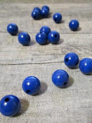 Holzperlen Holzkugeln 12mm Großloch Fädelloch 3mm dunkelblau - MONDSPINNE
