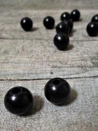 Holzperlen Holzkugeln 12mm Großloch Fädelloch 3mm schwarz - MONDSPINNE