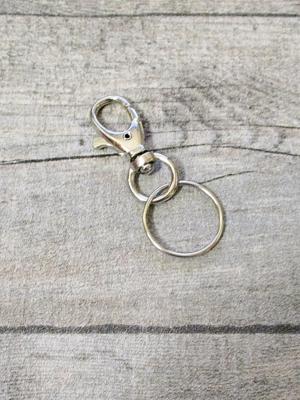Schlüsselring mit Karabiner silber Eisen Durchm22mm 40bzw55x14x8 - MONDSPINNE