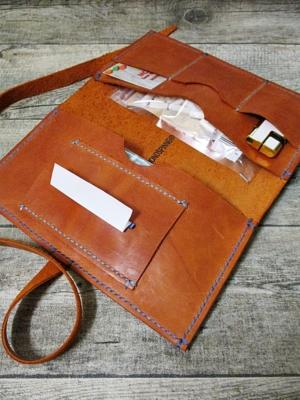 Tabaktasche Tobak cognac-antik blau Rindsleder Fettleder - MONDSPINNE
