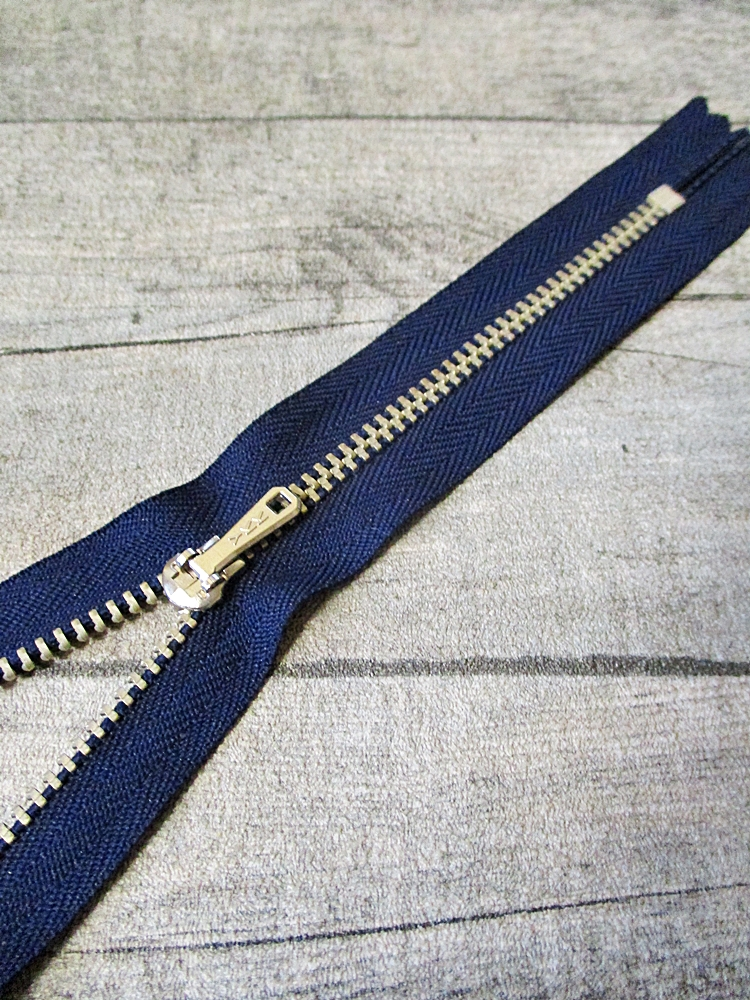 Reißverschluss dunkelblau altsilber 16 cm lang 2,7 cm breit YKK - MONDSPINNE