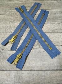 Reißverschluss graublau messing 18 cm lang 3 cm breit YKK - MONDSPINNE