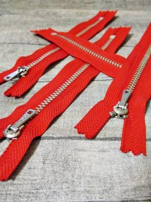 Reißverschluss rot altsilber 14 cm lang 2,7 cm breit YKK - MONDSPINNE