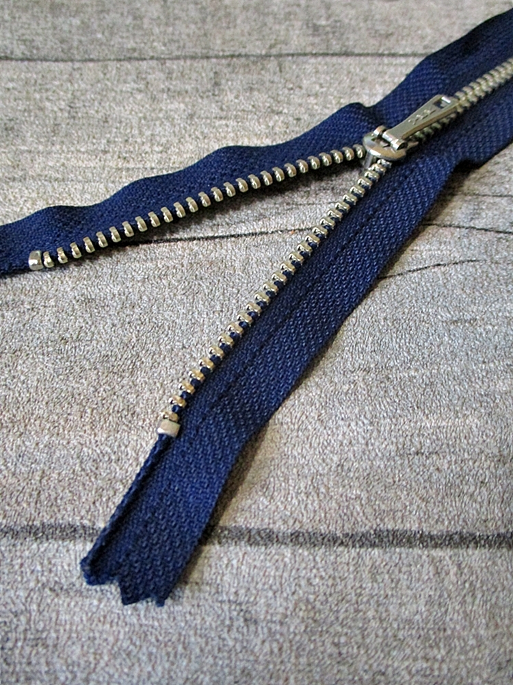 Reißverschluss dunkelblau altsilber 18 cm lang 2,7 cm breit YKK - MONDSPINNE