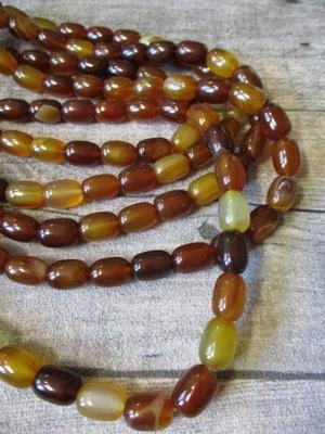 Achatperlen braun orange gelb bernstein oval eiformig 14x10 mm - MONDSPINNE