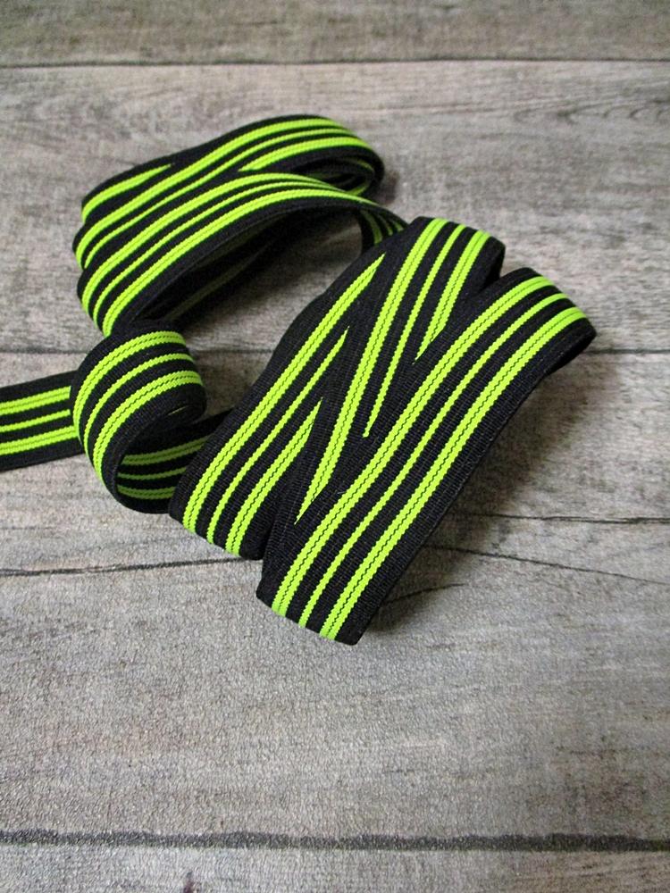 Gummiband Elastikband 2 cm Polyester Elastodien schwarz neongrün - MONDSPINNE