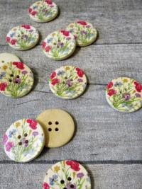 Holzknopf Holz Knopf Blumen Klatschmohn Kornblumen Gräser natur grün rot blau 30x5 mm - MONDSPINNE