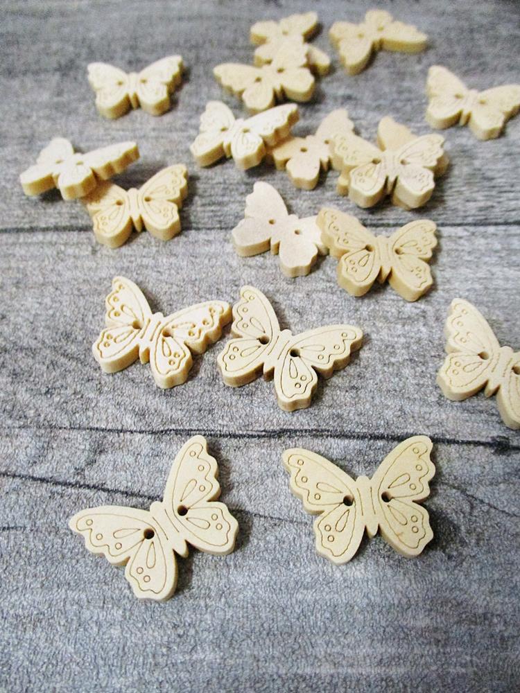 Holzknopf Holz Knopf Schmetterling hell natur 22,5x18x3 mm - MONDSPINNE