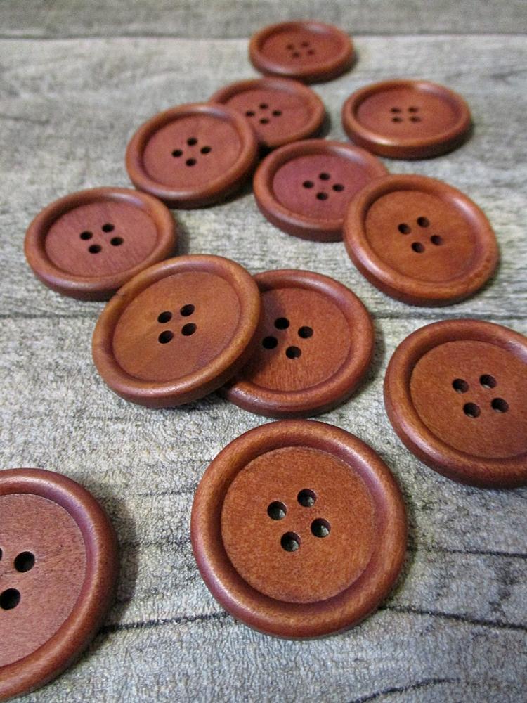 Holzknopf Holz Knopf braun rotbraun rund groß 30x4 mm - MONDSPINNE