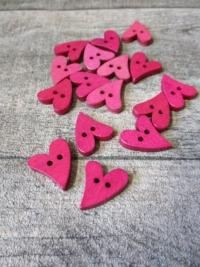 Holzknopf Knopf Holz Herz pink 20x16x3 mm - MONDSPINNE
