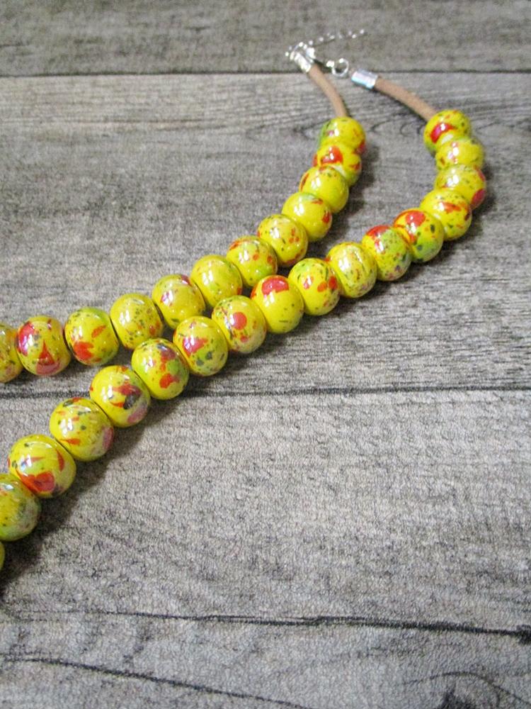 Kette Lederkette Porzellankette gelb Karabinerverschluss - MONDSPINNE