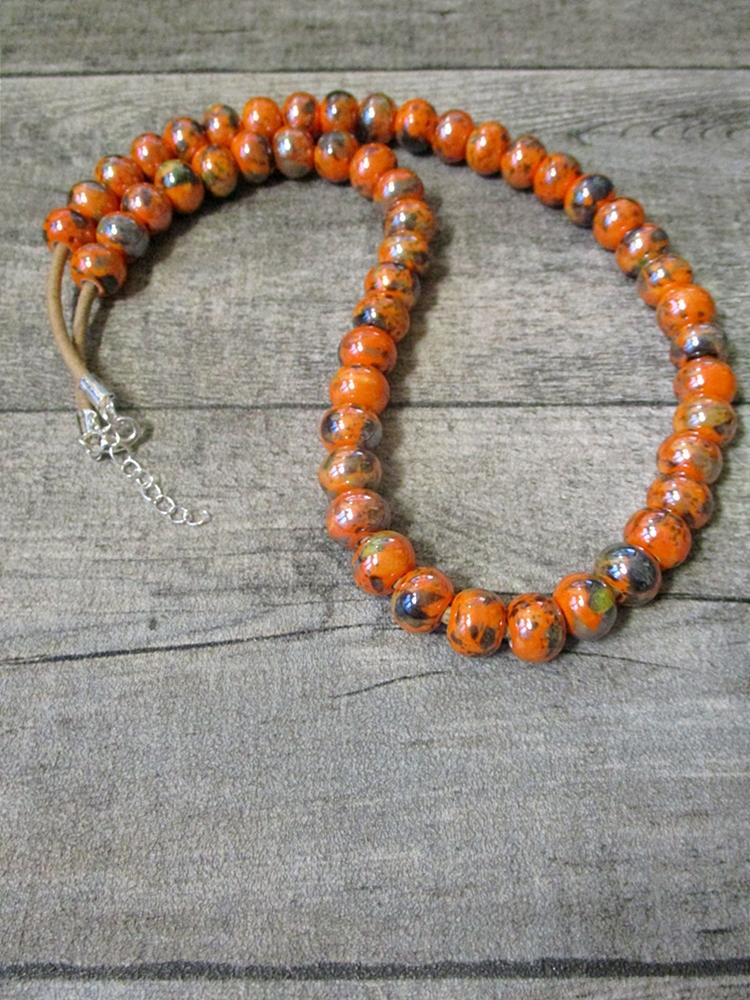 Kette Lederkette Porzellankette orange Karabinerverschluss - MONDSPINNE