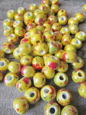 Porzellanperlen Großlochperlen handgefertigt gelb perlig 12x9 mm Lochgröße 4 mm - MONDSPINNE