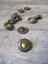Druckknopf Metall altmessing rund Zahnrad groß Steampunk 17 mm - MONDSPINNE