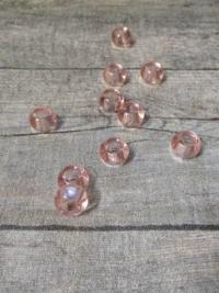 Glasperlen Glaskugeln Großlochperlen rosa 14x10 mm Lochgröße 5,5 mm - MONDSPINNE