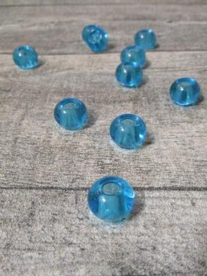 Glasperlen Glaskugeln Großlochperlen türkis 14x10 mm Lochgröße 5,5 mm - MONDSPINNE