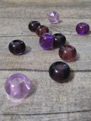 Glasperlen Glaskugeln Großlochperlen violett rosa 14x10 mm Lochgröße 5,5 mm - MONDSPINNE