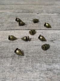 Nieten Schraubnieten Ziernieten altmessing Metall 9x7 mm rund spitz - MONDSPINNE