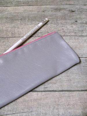 Federmäppchen Stiftemäppchen Federtasche Ledertasche grau pink Leder - MONDSPINNE