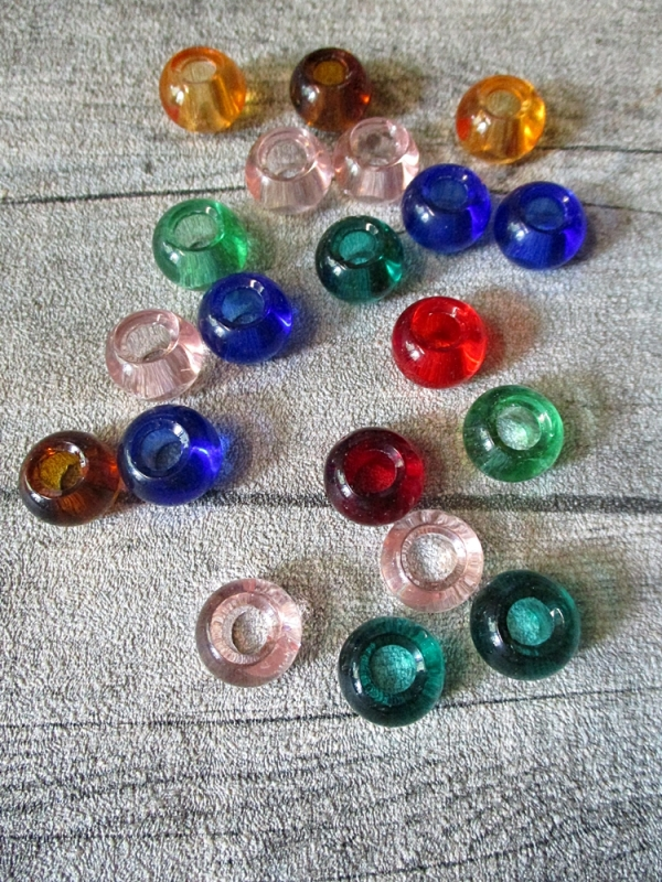 Glasperlen Glaskugeln Großlochperlen bunt Mix XL-Packung 14x10 mm Lochgröße 5,5 mm - MONDSPINNE
