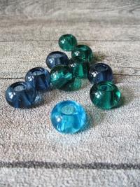 Glasperlen Glaskugeln Großlochperlen flaschengrün graublau türkis 14x10 mm Lochgröße 5,5 mm - MONDSPINNE