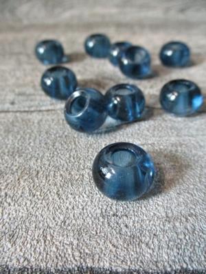Glasperlen Glaskugeln Großlochperlen graublau 14x10 mm Lochgröße 5,5 mm - MONDSPINNE