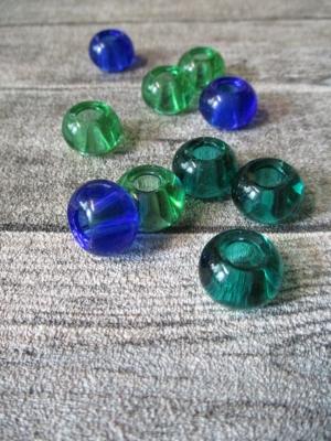 Glasperlen Glaskugeln Großlochperlen hellgrün dunkelgrün dunkelblau 14x10 mm Lochgröße 5,5 mm - MONDSPINNE