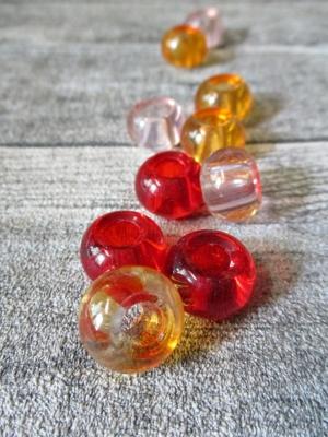 Glasperlen Glaskugeln Großlochperlen orange rot rosa 14x10 mm Lochgröße 5,5 mm - MONDSPINNE