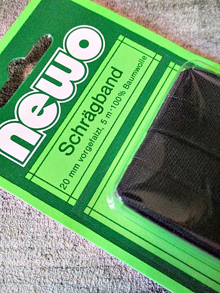 Schrägband schwarz Baumwolle 20mm 5m vorgefalzt - MONDSPINNE