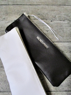 Federmäppchen Federtasche Ledertasche dunkelbraun-weiß zweifarbig flach 17x6 cm - MONDSPINNE