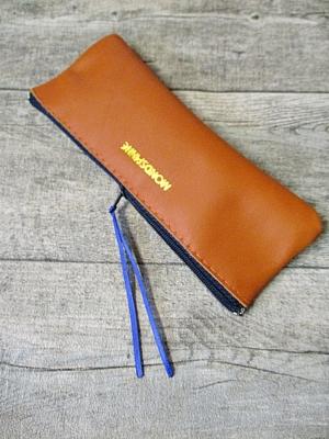 Federmäppchen Federtasche Ledertasche gelbbraun-dunkelblau flach 18x6 cm - MONDSPINNE