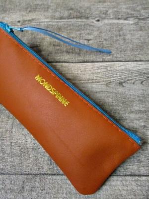 Federmäppchen Federtasche Ledertasche gelbbraun-türkis flach 16x6 cm - MONDSPINNE