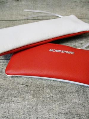 Federmäppchen Federtasche Ledertasche rot-weiß zweifarbig flach 16x6 cm - MONDSPINNE