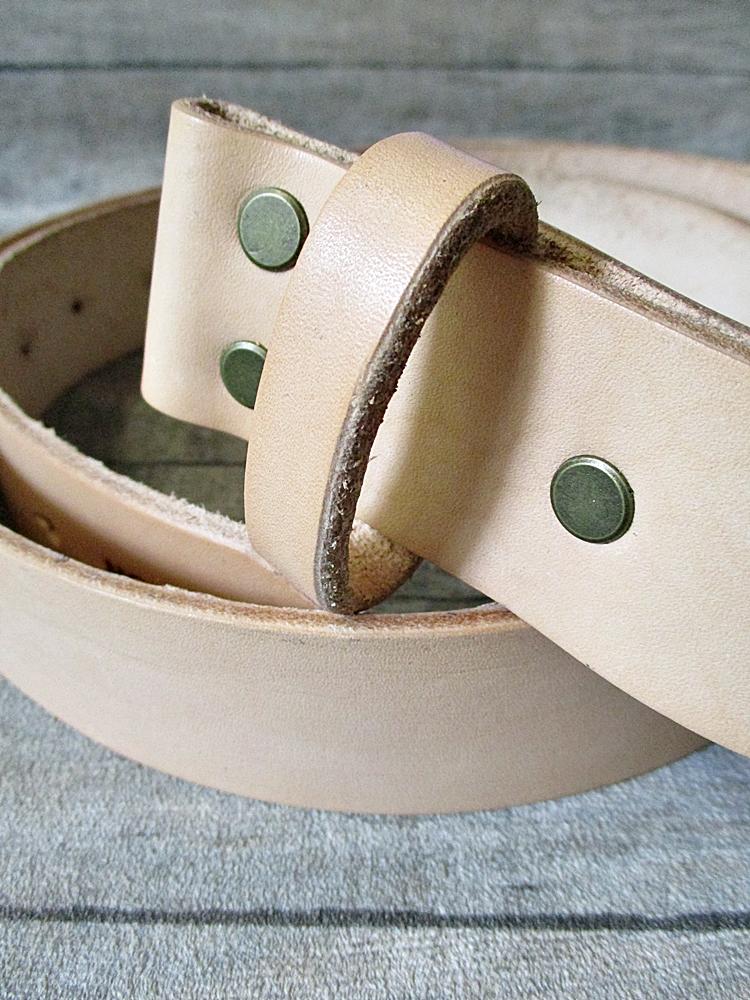 Gürtel Wechselgürtel Ledergürtel natur-messing Rindsleder 135 cm Größe 125 gewachst - MONDSPINNE