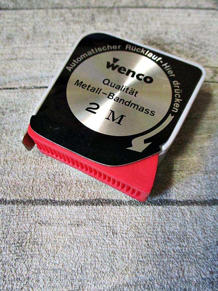 Maßband Bandmaß Metermaß Rollmaß Rollmaßband Metallbandmaß Metallmaßband viereckig schwarz-silbergrau-rot 200 cm wenco - MONDSPINNE