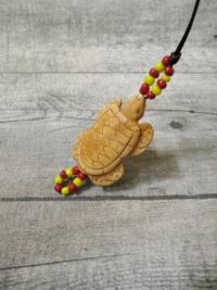 Kette Leder Knochen braun natur Schildkröte Glasperlen rot gelb - MONDSPINNE