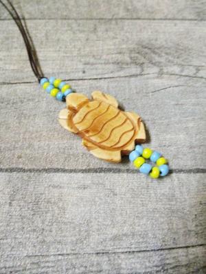 Kette Leder Knochen braun natur Schildkröte Glasperlen türkis gelb - MONDSPINNE