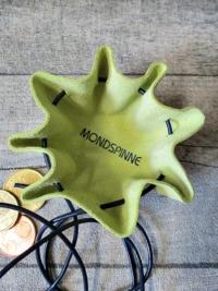 Mini-Lederbeutel neongrüngelb dunkelblau Rindsleder - MONDSPINNE