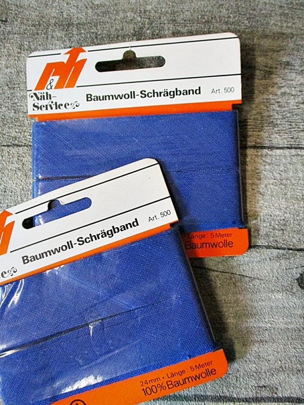Schrägband Baumwolle blau 5 m 24 mm - MONDSPINNE