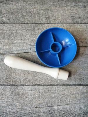 Stopfpilz weiß blau Holz Kunststoff 10x6cm - MONDSPINNE