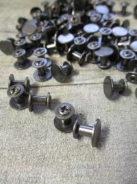 Gürtelschrauben Schraubnieten dunkelgrau gun metal Metall 10x7 mm - MONDSPINNE