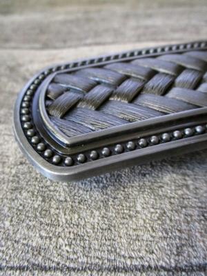Gürtelschnalle Metallschließe Buckle silber schwarz rechteckig Flechtmuster - MONDSPINNE