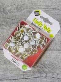 Reißnägel Reißbrettstifte Hello Yello Metall Kunststoff weiß 150 Stk - MONDSPINNE